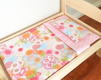 "Doll bedding set ""bright floral"" to suit ikea doll beds"