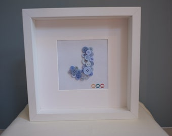 Letter button art frame - personalised gift