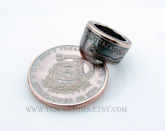 Don't Tread On Me, The Price Of Liberty Handcrafted 1oz .999 Pure Copper Coin Ring, Unique Ring, Coin Jewelry, Mens, Band, Rings