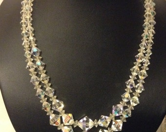 Vintage original 1950's aurora borealis crystal two strand necklace