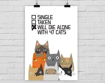 fine-art print poster SINGLE TAKEN CATS