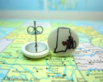Rhode Island Earrings, Rhode Island Clip On Earrings, Rhode Island Jewelry, State Jewelry, Home State Jewelry, Rhode Island Necklace