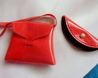 Tammy *TWO ORIGINAL PURSES* -Red Tote Bag & Clutch Purse Lot -Vintage Original 60's Ideal Family Items -Clothes-Accessories