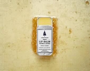 HONEY LIP BALM: All Natural Beeswax Lip Balm w/ Vitamin E (Honey Scent) - Lip Balm, Lip Chap, Lip Care Made in Canada, Gift for Him