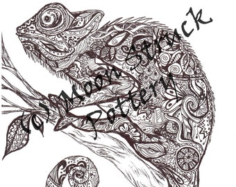 Animal Coloring Page, Iguana Coloring Page, Adult Coloring Page, Printable Coloring Sheet, Digital Download,  from A Very Zen Thing
