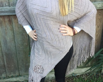 Monogrammed womens taupe knit poncho
