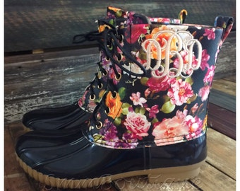 Monogrammed womens floral duck boots