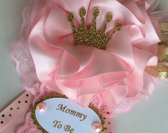 Princess baby shower corsage/Crown baby shower corsage/Pink and gold baby shower corsage/Baby girl baby shower corsage/Baby girl corsage