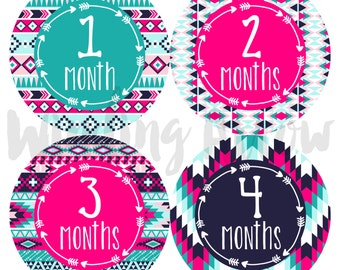 Baby Month Stickers Baby Girl Monthly Milestone Sticker Photo Prop Baby Shower Gift First Year Belly Stickers 12 Months Tribal Arrows