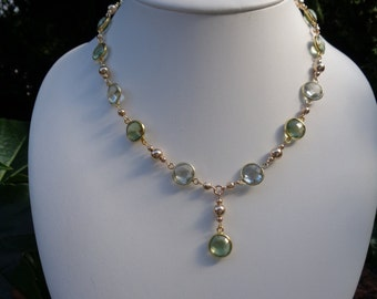 Collier gold with green amethyst, gorgeous in the 585 gold filled