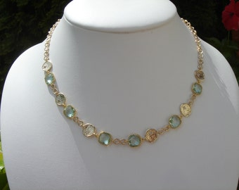Gold filled necklace, beautifully plated with Krstallglas in tender green
