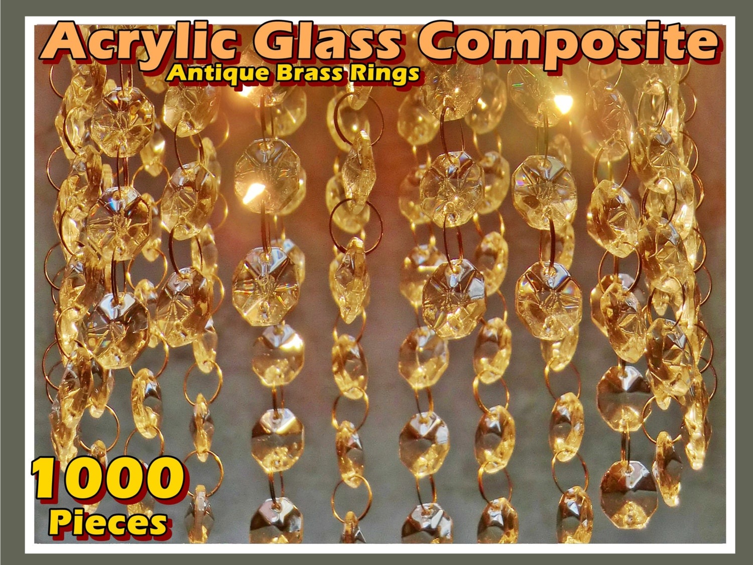 1000 Chandelier Drops Light Parts Acrylic Glass Mix Antique Rings ...