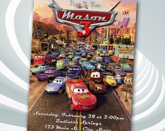 DIGITAL FILE Disney Cars Invitation - Cars Birthday Party Invitation - Disney Cars Printables - Lightning McQueen Invitation