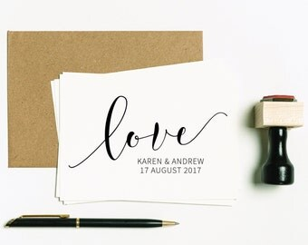 Love Rubber Stamp, Love Stamp, Love Wedding Favor Stamp, Wedding Favor Stamp, Custom Stamp, Personalised Wedding Stamp, (SFAVS320 - S.3)