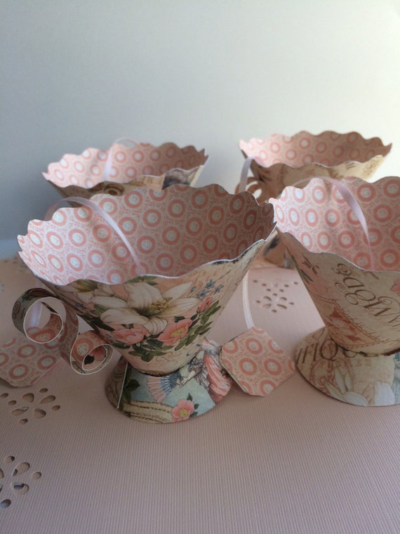 Paper tea cups birthday party favors bridal shower tea tea for Teacup party favors