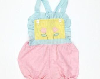 Vintage Gingham Sunsuit Romper Baby Toddler Girl