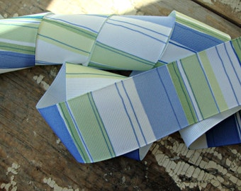 Blue and Green Striped Grosgrain Ribbon