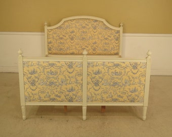 28229E:  Queen Size French Paint Decorated Upholstered Bed