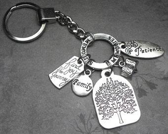 Genealogy Family Tree Charm Key Chain Memories Patience Joy in the Journey Family History Jewelry, LDS Gift, Keychain