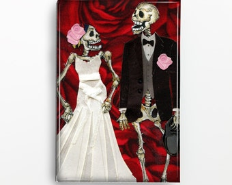 Day of the Dead Skeleton Bride and Groom Rectangle Magnet 119