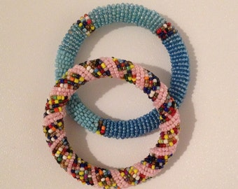 bracelets Maasai African tribal with pearls several colors