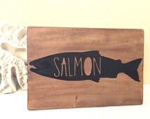 Salmon Art - Salmom sign - Salmon Wood Sign - Fish Art - Salmon decor - Cabin Decor - Alaska  Decor - Alaska Art - Alaskan Sign - Rustic