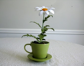 Handmade Paper Daisy in Green Teacup