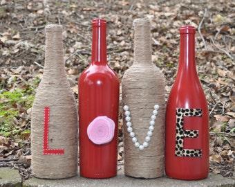 LOVE Wine Bottles - Valentines Day Wine Bottles - Twine LOVE Wine Bottles - LOVE Wine Bottle Vases - Upcycled Love Wine Bottle Decoration