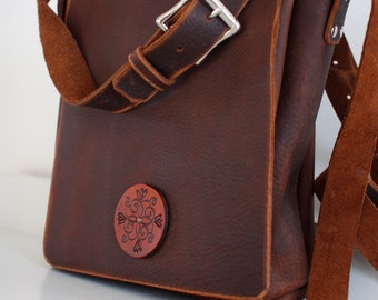 Small leather Messenger Bag, leather Cross body bag, distressed leather cross body bag, iPad bag, made in PEI