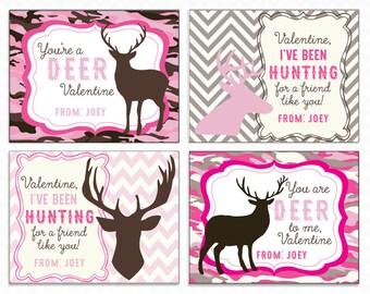 Printable Deer, Hunting Valentine Cards - Instant Download