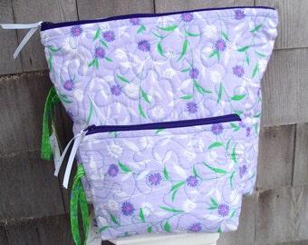 Matching Zipper Cosmetic bag set, Cosmetic bags, Essential Oils bags, Quilted zipper bags, Toiletry bags, Makeup bag set, Zipper purses