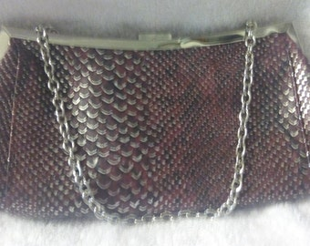 Vintage Leather plum New York and Company Clutch with Chain Handle, Handbag, Purse