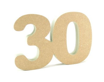 30th celebration wooden number free standing for DIY crafters birthday anniversary decoration
