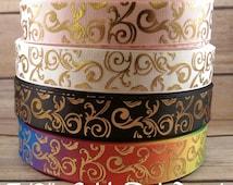 "gold foil scroll Ribbon, gold Foil swirl ribbon, 7/8"" Grosgrain Ribbon, craft supply, hairbow supply, lanyard supply, foil swirl ribbon"