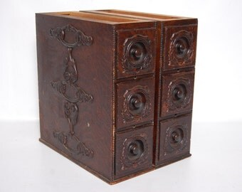 Antique Singer Treadle Sewing Machine Drawers Set of Six Decorative DIY Cabinet