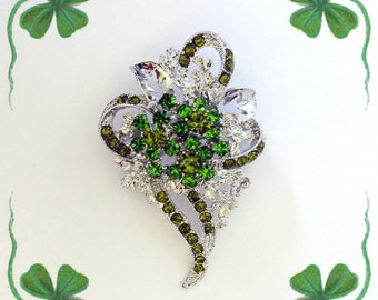 50% ON SALE..Shamrock Pin..Shamrock Brooch..Green Shamrock Pin..Rhinestone Shamrock Pin..3 Leaf Clover Pin..Irish Jewelry..St. Patrick's Day