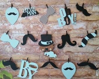 Boy Oh Boy Mustache Garland, Boy Oh Boy Shower Decor, Mustache Theme Shower Decor, Mustache Die Cuts, Die Cut Garland