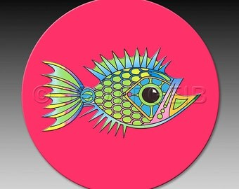Whimsical fish on a very absorbent Coaster.  Make a great little gift for anyone who loves the beach!