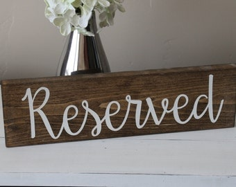 Reserved Sign, Reserved Seating Sign, Wedding Sign, Rustic Wedding, Centerpiece, Wedding Decor, Wood Signs, Country Wedding, Rustic Signs