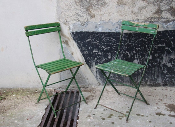 2 Green Folding Chairs Giverny Monet Wood Metal English