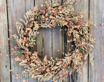 Fall Door Wreath, Rustic Door Wreath, Fall Wreath, Rustic Wreath, Door Wreath, Wedding Wreath, Wreath For Door, Home Decor, Door Wreath