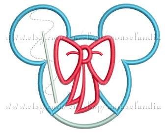 Cute cinderella  miss mouse  Applique Design   Instant Download 2sizes