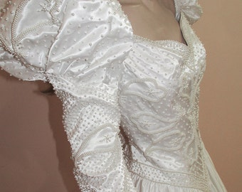 Pearl Beaded Wedding Dress. White wedding dress from the 1990s