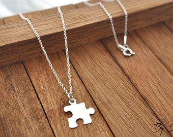 Sterling Silver Puzzle Piece Shaped Charm Necklace, Puzzle Piece Pendant Necklace, Puzzle Necklace, Puzzle Piece, Silver Puzzle, Puzzle Char