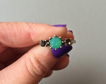 Aqua and dark green gemstone gold ring