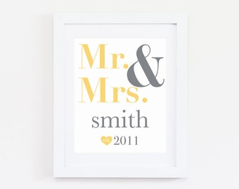 Last Name Wedding Gift, Personalized Wedding Gift, Mr and Mrs Gift, Anniversary Gift for Wife, Personalized Last Name Wall Decor, Wife Gift