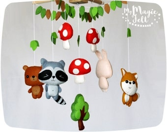 Baby mobile woodland Crib mobile animals Tribal baby mobile forest Childrens mobile Animals nursery mobile Baby room mobile Forest nursery