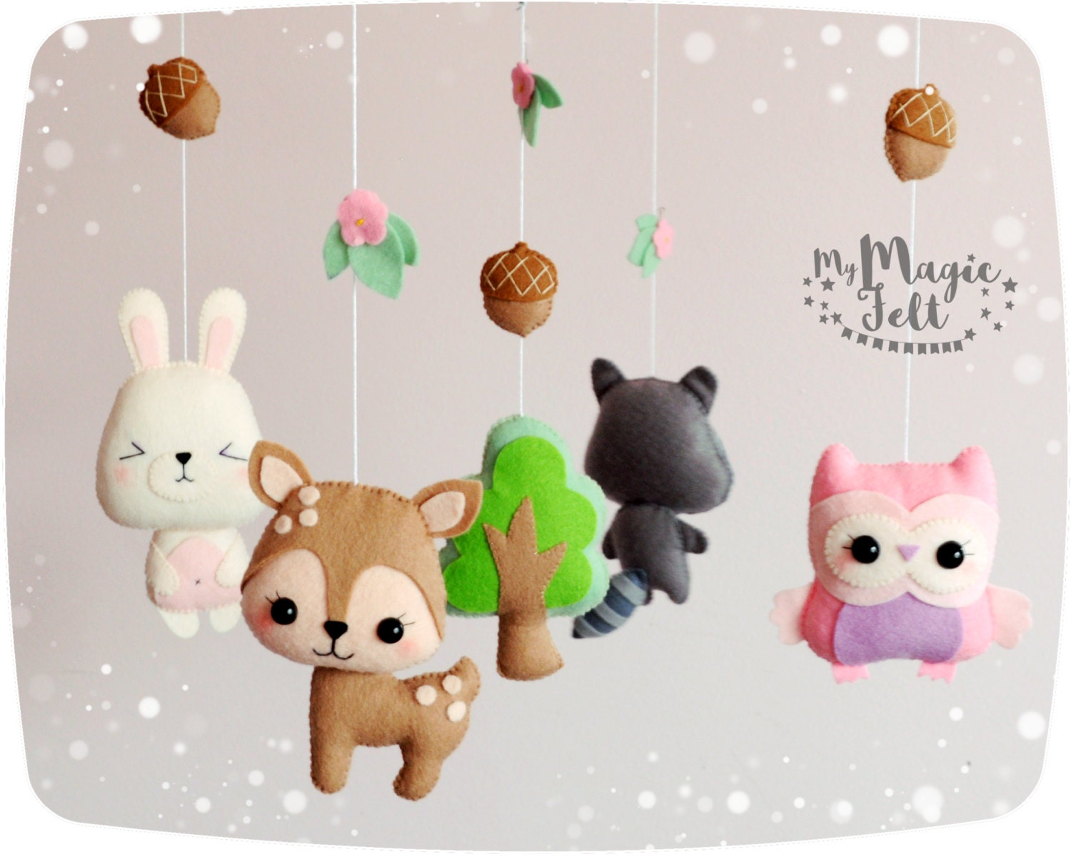 Baby mobile forest nursery mobile woodland animals baby mobile for Woodland animals nursery mobile