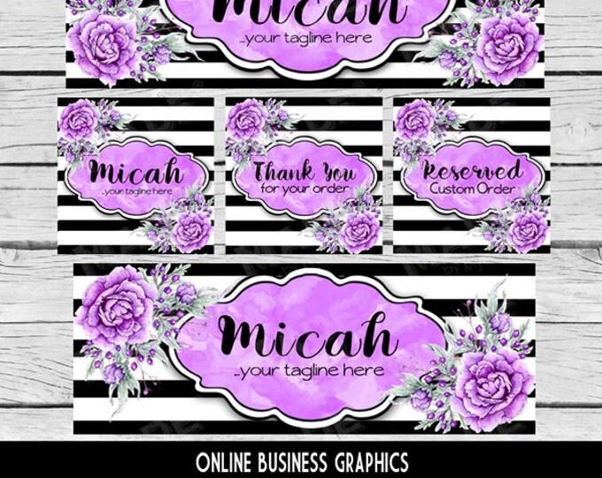 ETSY & SOCIAL MEDIA Set - Micah Design - Purple Black Peony Floral, Watercolor Etsy Set, Etsy Banner Set, Digital, Business