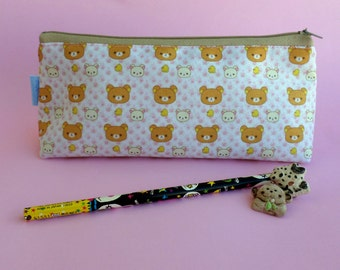 Cute Rilakkuma Pencil Case Zipper Pouch Bag Pen Box School Bear